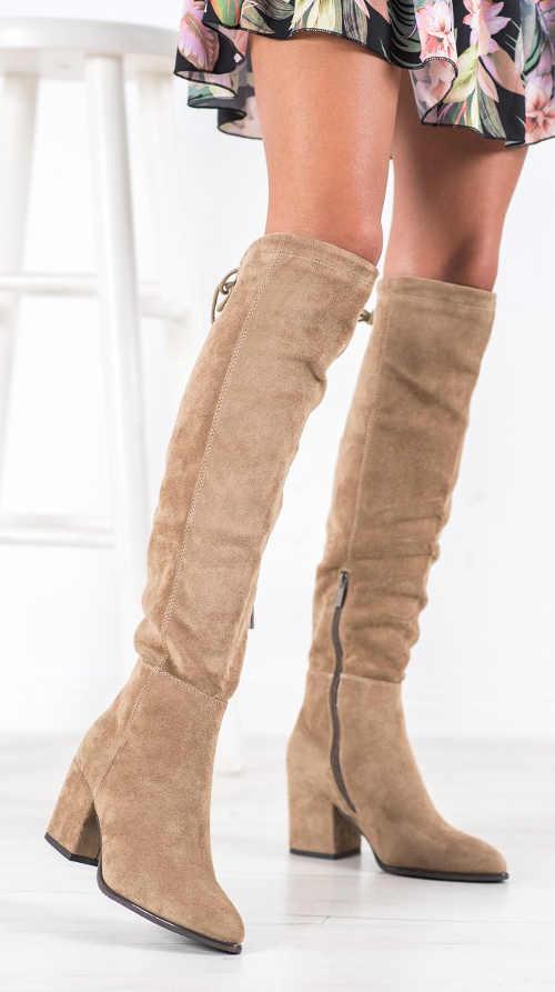 Beżowe zamszowe sznurowane botki za kolano