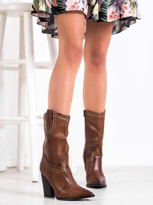 Brązowe kowbojki damskie