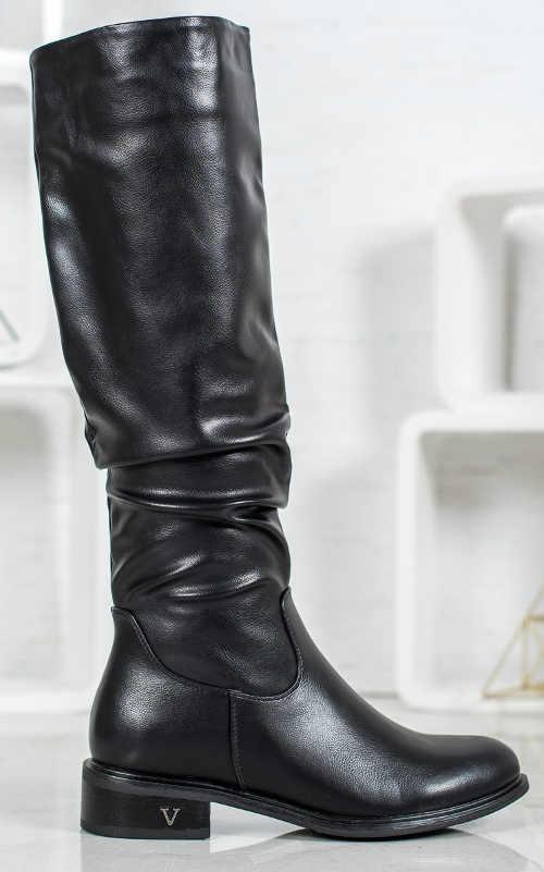 Klasyczne czarne damskie buty zimowe tanie