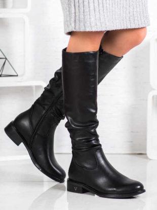 Tanie czarne botki z falbankami nad kostkami