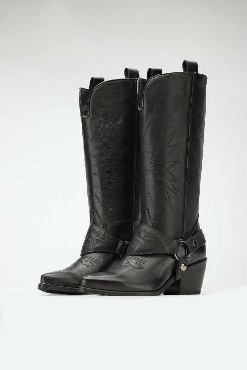 Wysokie skórzane buty damskie