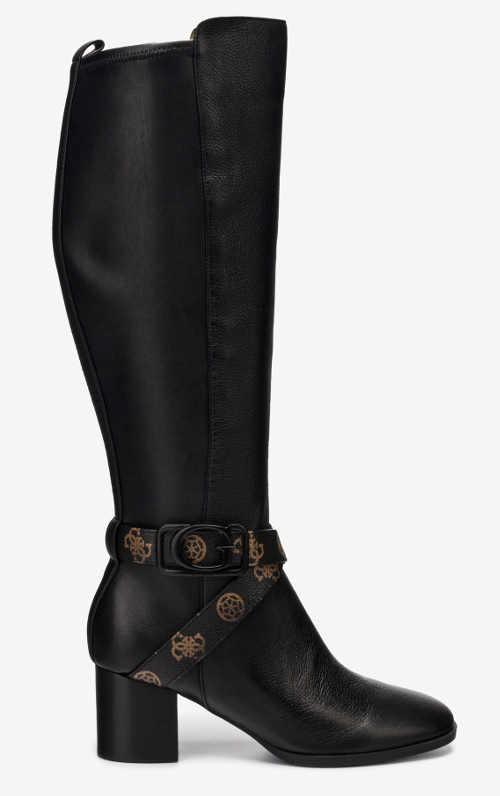 Czarne luksusowe kozaki damskie Guess