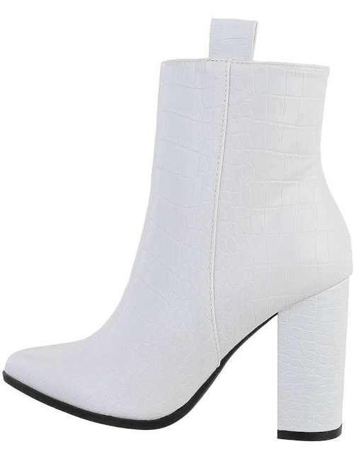 Damskie białe stylowe buty na obcasie
