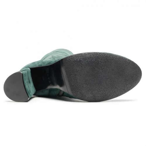 Damskie skórzane wysokie zielone botki