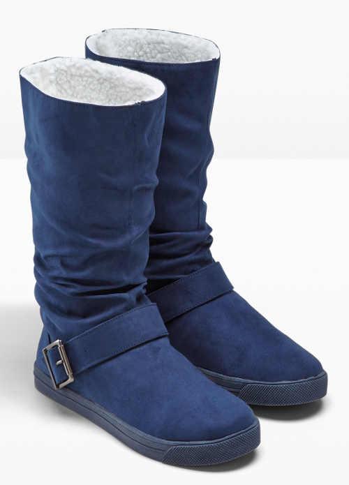 Niebieskie buty zimowe z białym wewnętrznym futerkiem