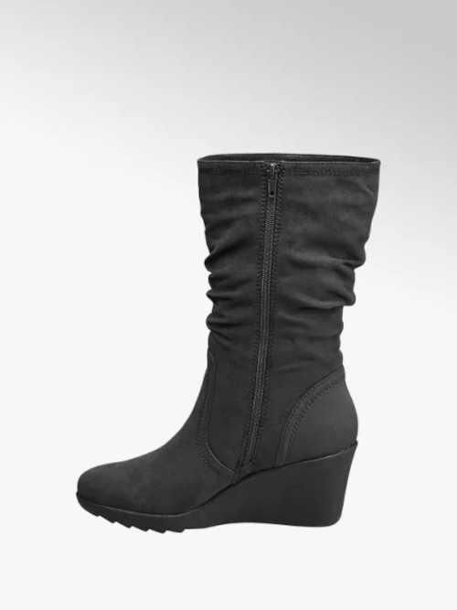 Szare buty damskie z klinem