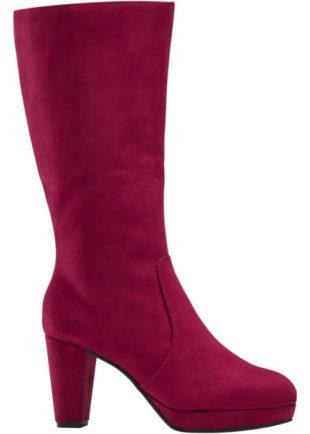 Tekstylne botki na obcasie w kolorze burgundowym