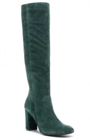 Wysokie ciemnozielone skórzane buty