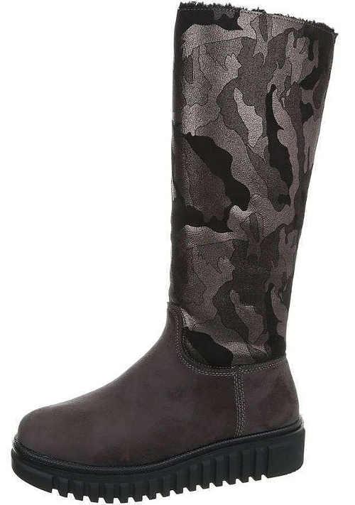 Damskie buty zimowe w kamuflażu na wyższej platformie