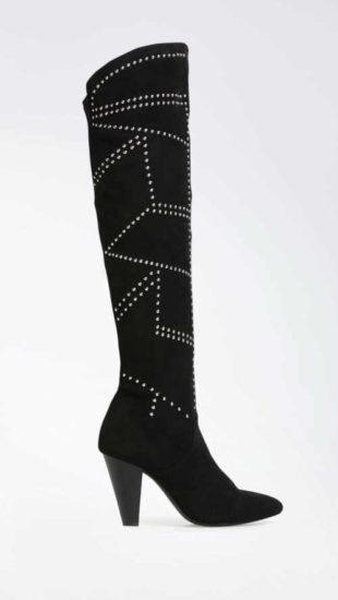 Nowoczesne wysokie buty w kolorze czarnym i srebrnym