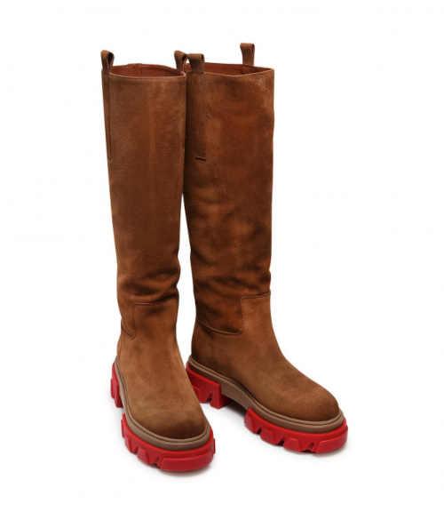 Buty Carinii brązowe z czerwonym