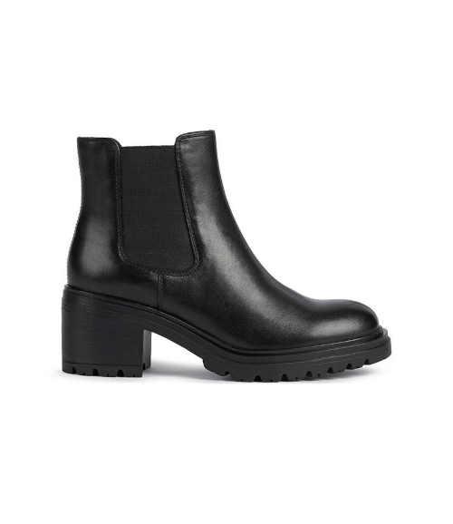 Czarne damskie stylowe buty za kostkę Geox