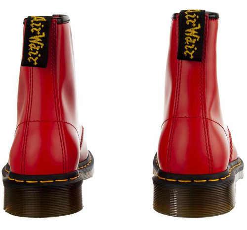 Czerwone damskie zimowe buty za kostkę