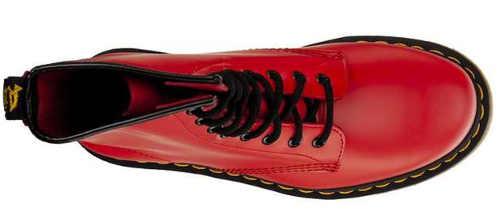 Czerwone skórzane buty zimowe damskie, sznurowane
