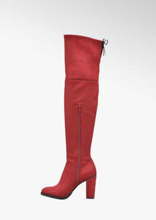 Czerwone wysokie buty damskie