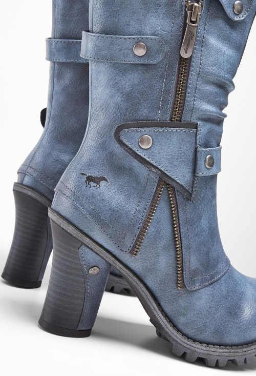 Niebieskie jeansowe botki z wysokim obcasem