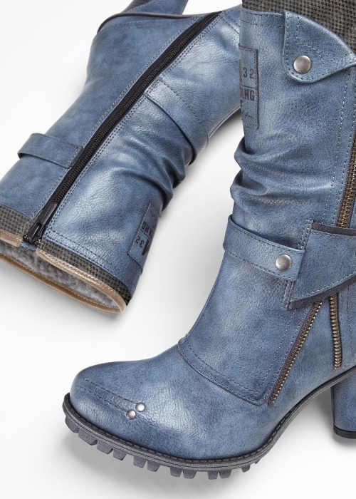 Nowoczesne niebieskie damskie buty Mustang