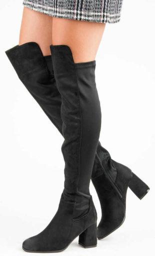 Tanie czarne botki damskie wysokie nad kolano