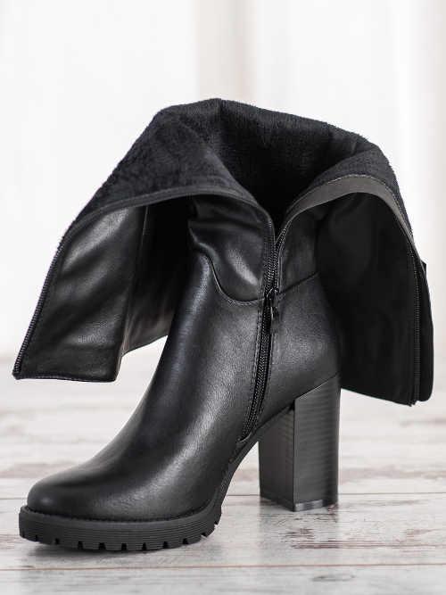 Buty damskie wyższe z bocznym zamkiem błyskawicznym