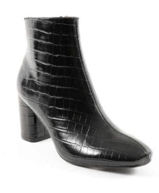 Czarne niskie buty z wzorem krokodyla