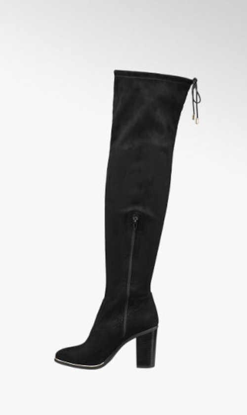 Czarne wysokie buty tekstylne