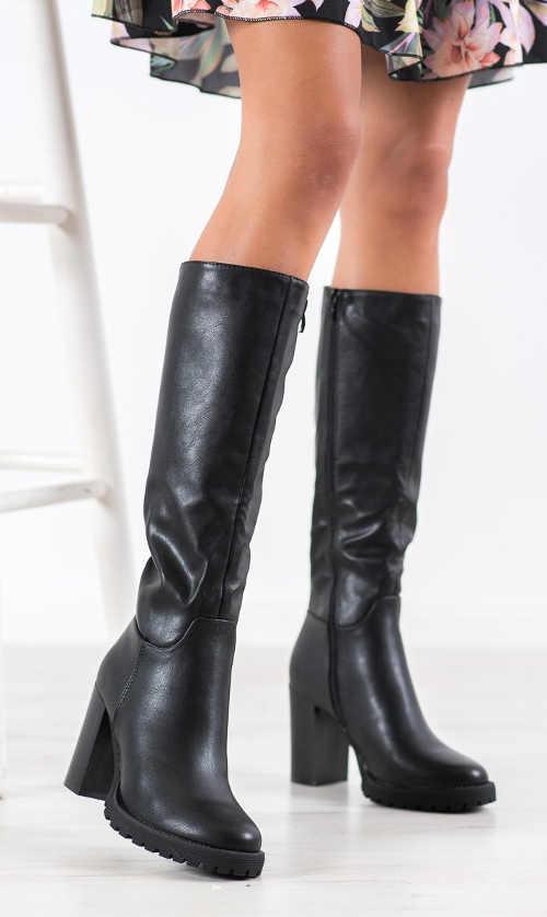 Damskie czarne buty z eko skóry