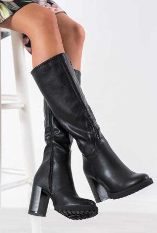 Damskie wysokie buty z kolumnowym obcasem