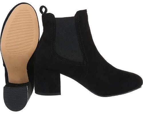 Eleganckie czarne damskie jesienne buty za kostkę