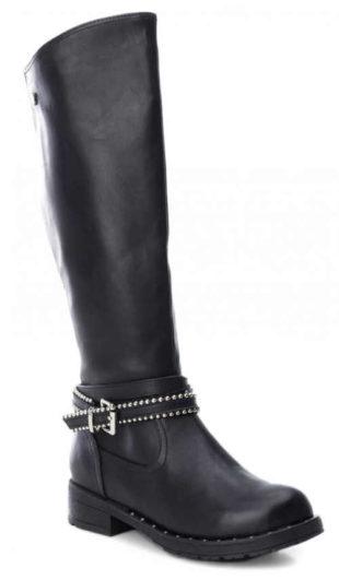 Czarne damskie wysokie buty z klamrą nad kostką
