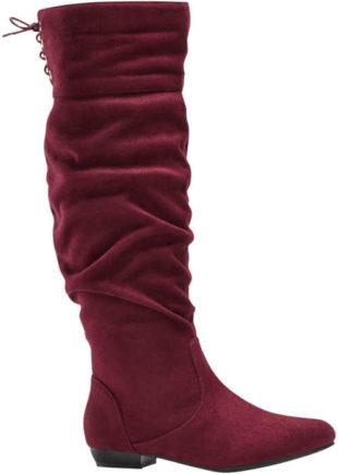 Damskie stylowe botki w kolorze burgundowym
