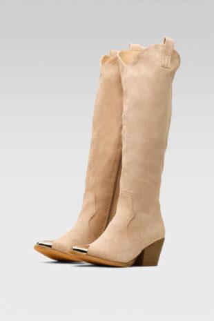 Wysokie beżowe buty DeeZee